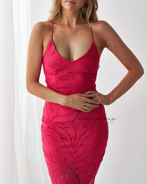 KHALEESI DRESS - HOT PINK