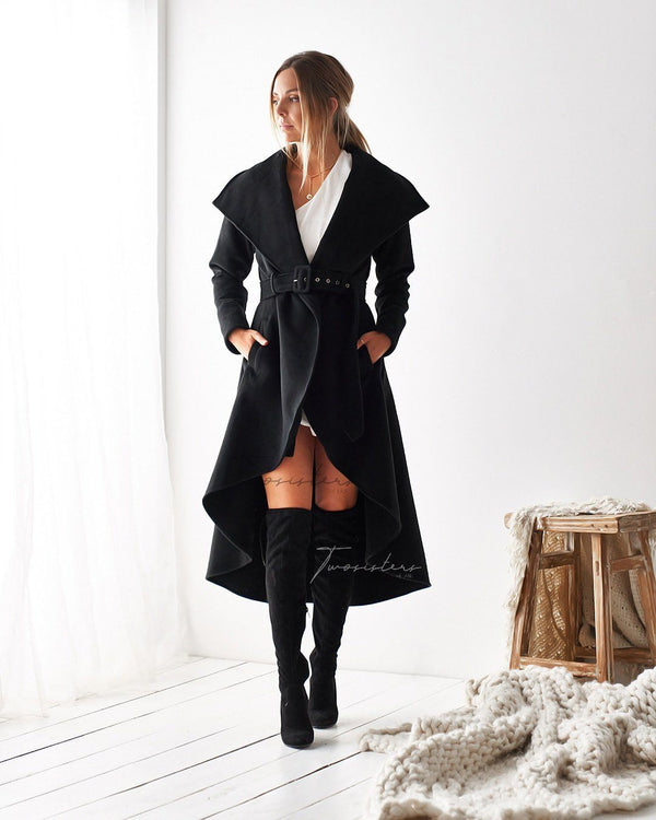 MERYL HIGH LOW COAT - BLACK