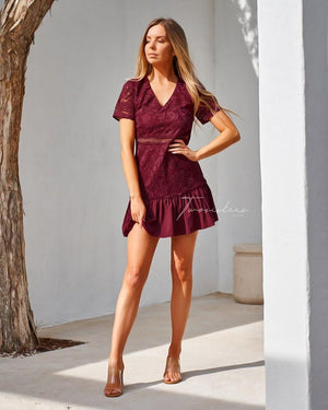 TWO SISTERS THE LABEL: MISSHA DRESS- BURGUNDY