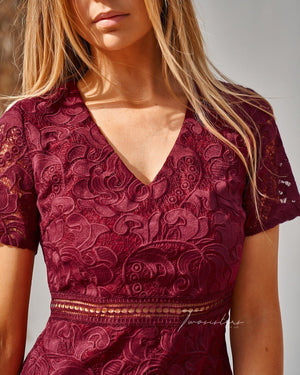 MISSHA DRESS- BURGUNDY