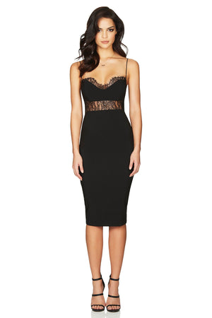 NOOKIE - CHLOE LACE MIDI - BLACK