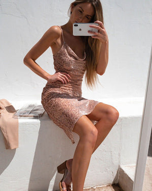 CHARLIZE DRESS - BLUSH LEO