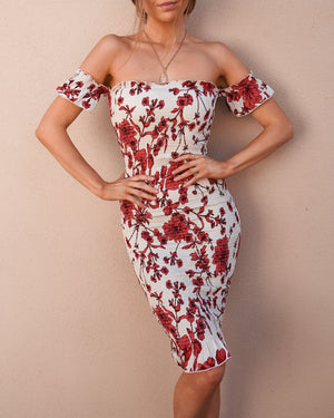 LAUREN DRESS - RED/WHITE