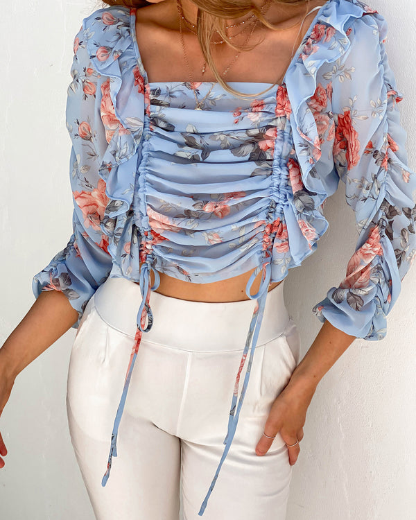 SECRET GARDEN TOP - BLUE