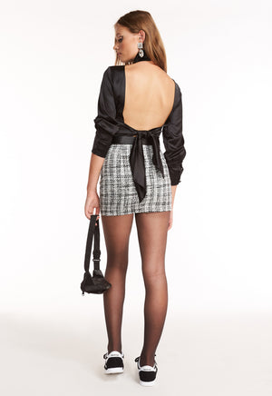 SOUTH BANK SKIRT - BLACK TWEED