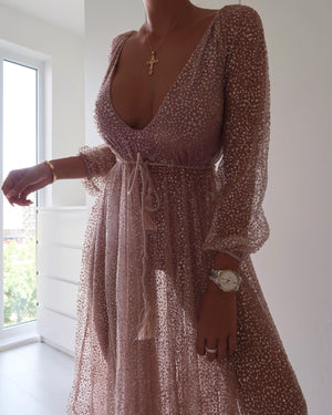 NALA GLITTER GOWN - ROSE GOLD