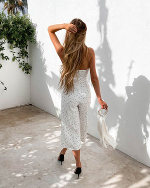 QUEEN OF HEARTS JUMPSUIT - WHITE