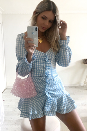 NIKITA DRESS - BLUE CHECK
