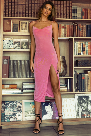 SLINKY SLIP DRESS - BUBBLEGUM