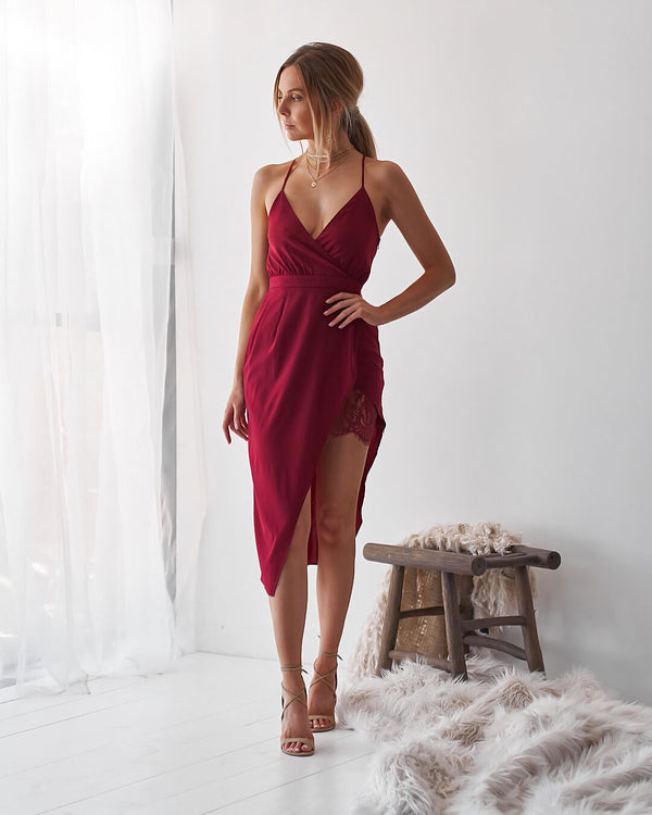 LONDON LOVER DRESS - BURGUNDY