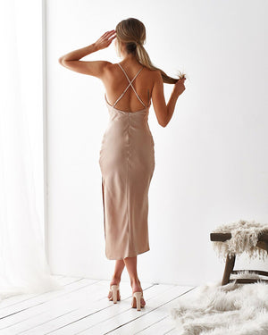LORETA DRESS - CHAMPAGNE