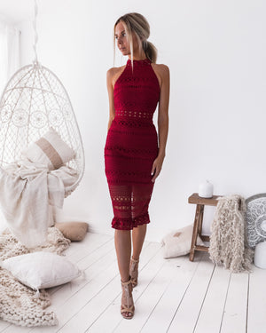 RIVERS MIDI DRESS - WINE