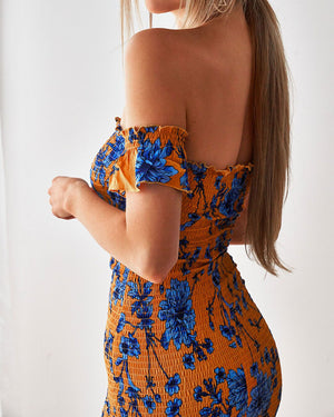 LAUREN DRESS - ORANGE/BLUE