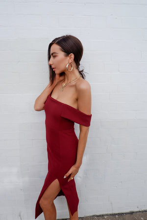 LEMON DRESS - BURGUNDY
