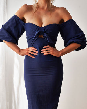 SHELBY MIDI DRESS - NAVY