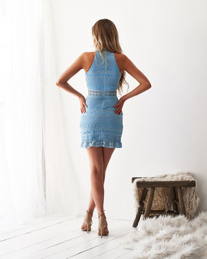 RIVERS MINI DRESS - BABY BLUE