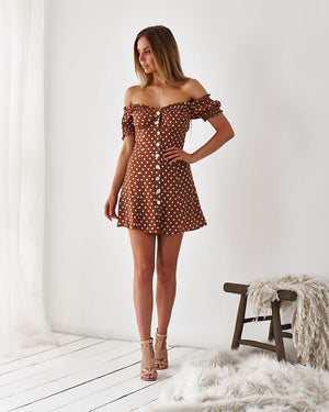 JULIA DRESS - RUST SPOT