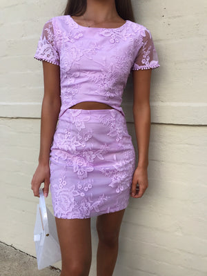 SHAY LACE DRESS - LILAC