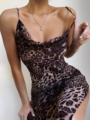 LORETA DRESS - BROWN LEOPARD