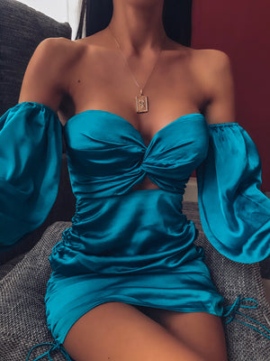 POUFFE SLEEVE MINI DRESS - TEAL