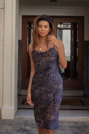 CHARLIZE DRESS - NAVY LEO