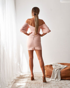 SHELBY MINI DRESS - PEACH