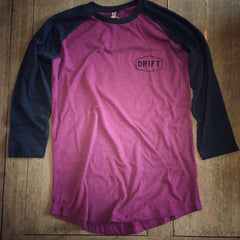 Drift Hang Loose baseball tee - Raspberry/Charcoal