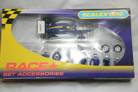 SCALEXTRIC TRACKSIDE PROPS - C8303 - PIT CREW - WHEEL CHANGE - BLUE - PLUS CAR
