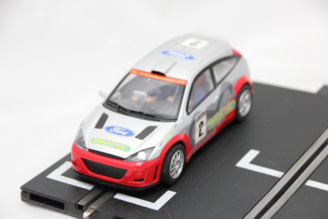 SCALEXTRIC SPORT CAR - C2406 - FORD FOCUS - WRC RALLY CAR - SILVER / RED - #2
