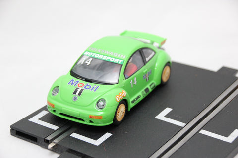 SCALEXTRIC CLASSIC CAR - C2234 - VW BEETLE - GREEN - WORKING LIGHTS
