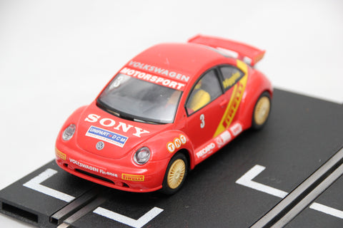 SCALEXTRIC CLASSIC CAR - C2233 - VW BEETLE - RED - HIGGINS - LIGHTS