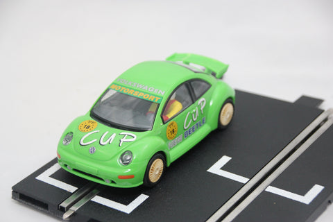 SCALEXTRIC CLASSIC CAR - C2301 - VW BEETLE - GREEN - WORKING LIGHTS