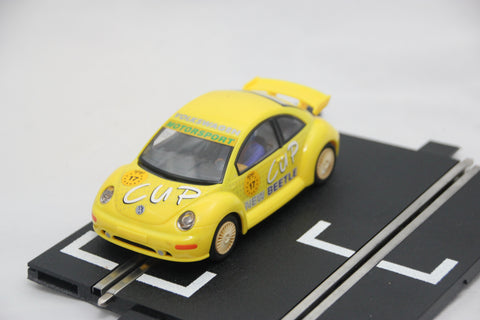 SCALEXTRIC CLASSIC CAR - C2300 - VW BEETLE - YELLOW - WORKING LIGHTS