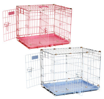 Suitcase-Style Precision Pet Products Dog Puppy Crate Wire Carrier, 24-in Blue, Pink