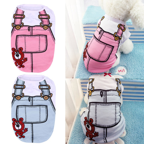 Summer Pet Dog Clothes Puppy Dog Cat Vest Shirt Fake Strap Dog Coat Cute Cotton Vest for Small Medium Dog Apparel XS To XL