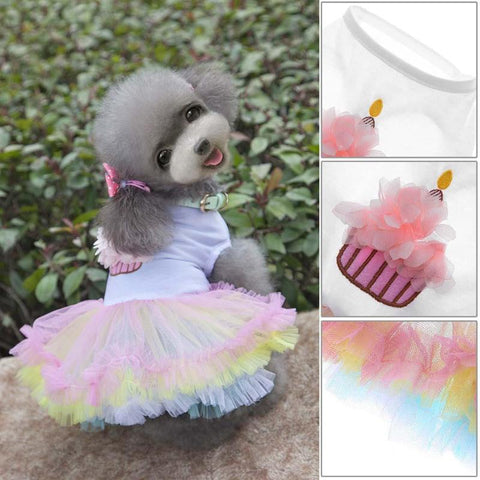 Puppy Dog Lace Princess Cake Flowers Print Dog Tutu Skirt Small Dog Cat Clothes Summer Pet Clothing Accessories