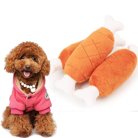 Soft Velvet Pet Dog Chicken Legs Plush Bone Toys Interactive Attractive Sound Cats Dog Cats Teddy Pitbull Squeak Toys 1PCS
