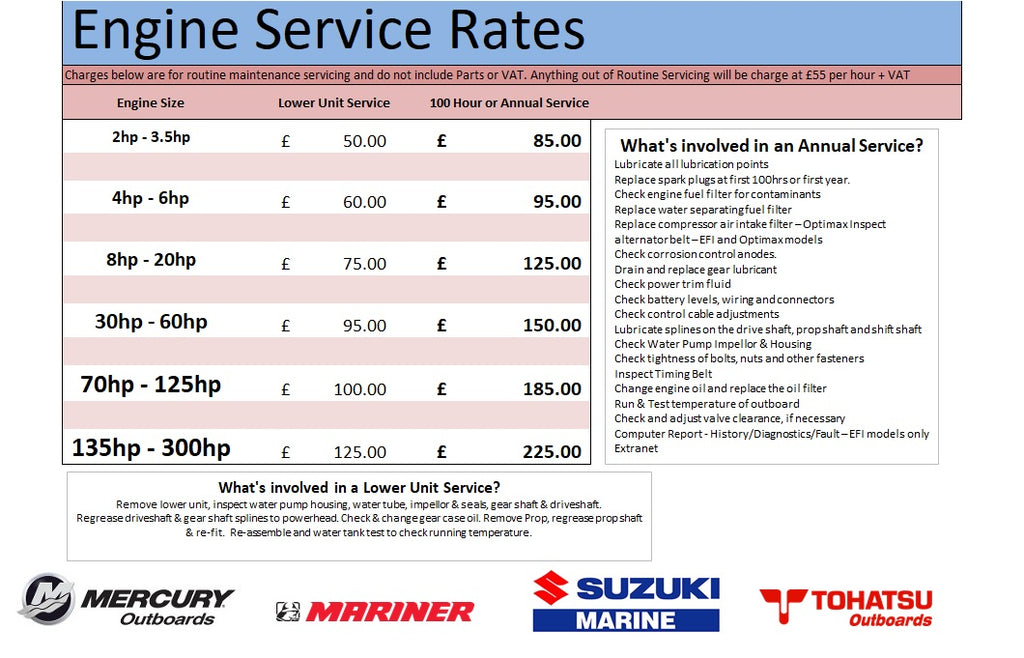 Outboard Service Rates
