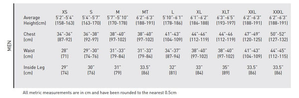 Gill Size Chart - Male