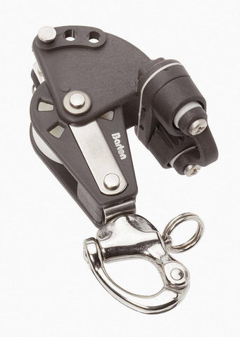 Barton Single Pulley Block with Snap Shackle, Becket & Cam Cleat, Size 2 - whitstable-marine