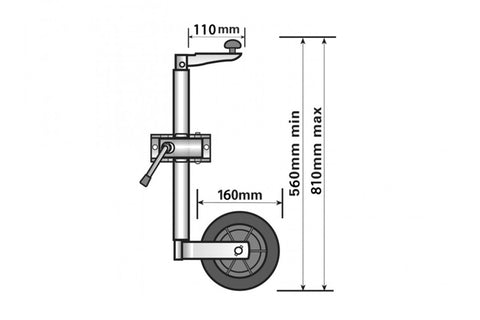 Trailer Jockey Wheel 34mm - Telescopic - whitstable-marine