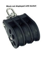 Barton Triple Pulley Block with Reverse Shackle & Becket, Size 6