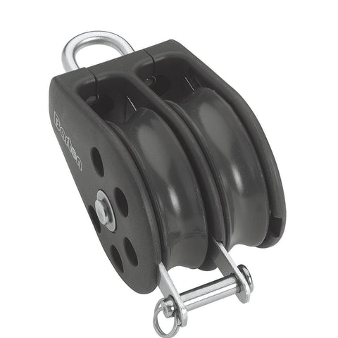 Barton Double Pulley Block with Fixed Eye & Becket, Series 1 - whitstable-marine