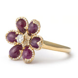 Glamour Flower Ruby Ring
