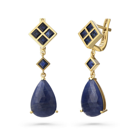 Blue Sapphire Box Earrings