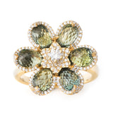 Glamour Flower Green Ring