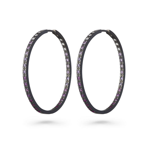 Black Hoop with Pink Gradient Earrings