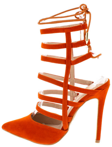 """GINGER"" orange lace up closed toe pump"