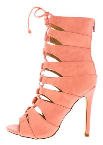 """CORA"" coral lace up heel"