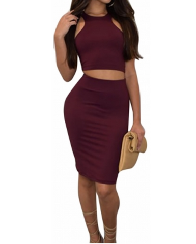 """SHOWSTOPPER"" burgundy 2 piece skirt set"